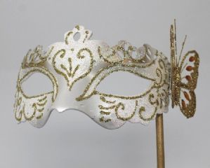 White and Gold Mask - Mask on Stick | Masks and Tiaras